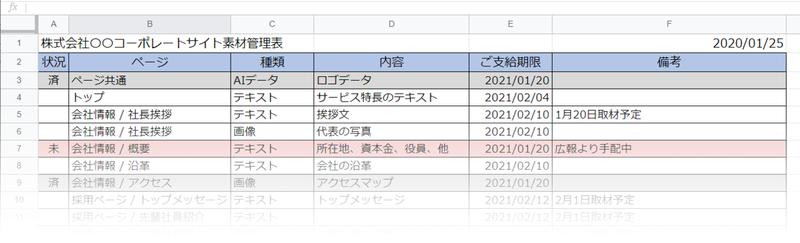 素材管理表